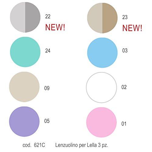 Lenzuola Picci per Culla Lella set 3pz Cod.621C-Bianco Var 02