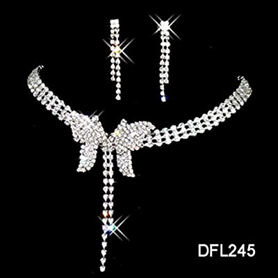 Crystal Necklace Earrings Earring Set Charm Tassel Butterfly Shape Wedding Jewelry Set Women Bride Party