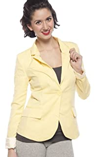 9XIS Womens Boyfriend Blazer,Light Yellow,Large