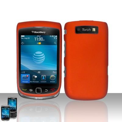 Blackberry 9800 Torch Premium Metallic Orange Snap-on Phone Protector Hard Cover Case + Bonus 5.5 inch Baby Blue Phone Cleaning Cloth