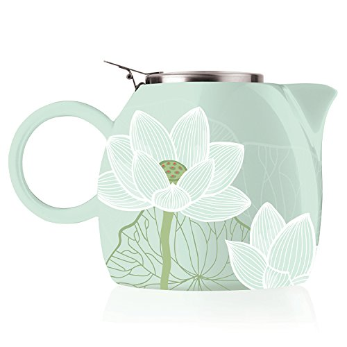 Tea Forte PUGG 24oz Ceramic Teapot with Tea Infuser, Loose Leaf Tea Steeping For Two, Lotus (Ceramic Teapot With Infuser compare prices)