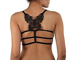 Golden Girl Black Butterfly Lace Bralet cum T shirt Bra padded with soft pads FREE SIZE
