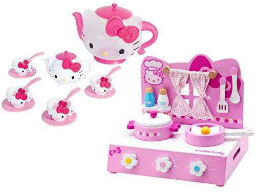 Hello Kitty Table Top Kitchen Play Set and Hello Kitty Hello Kitty Tea Time Set, Bundle (Hello Kitty Bows V Neck Top compare prices)