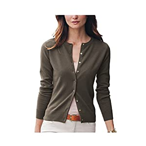 Parisbonbon Women's 100% Cashmere Crew Neck Cardigan Color Gray-Brown Size L
