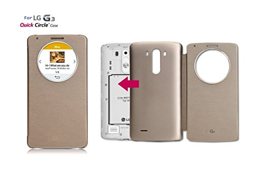 Quick Circle Smart Cover Lg G3 Window Folio Case Wireless Charging At&T D850 Pma Standard Wireless Charging Receiver Cover Smart Wake Up/Sleep View Window Side Flip Pu Leather Case (Gold)