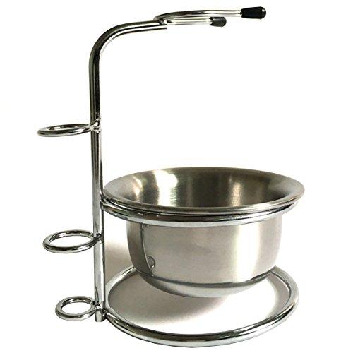 Stainless Steel Shaving Brush Stand Holder for Safety Razor Brush With Stainless Steel Bowl/mug Set (Shaving Brush Bowl compare prices)