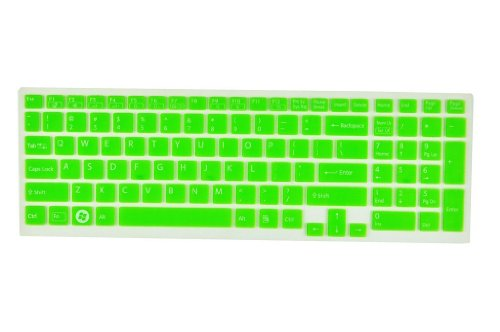 Silicone Laptop Keyboard Protector Skin Cover for Sony Vaio Pcg-61511T, E15, S15, F219, F24, EB, EE, EH, EL, CB, SE, Series 15.5 inch With Number Pad on the right US Layout + Swan Service Card Case for Credit, Bank, ID Card (Green Semitransparent)