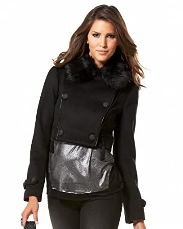 bebe Fur Collared Cropped Jacket :  fur collared cropped jacket