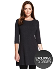 Petite Faux Leather Panelled Knitted Yoke Dress