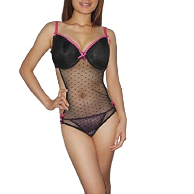 Womens Lingerie: Sexy Cut-Out Underwired Bra Sheer Mesh Babydoll Chemise Intimate Apparel -Size: 2X/22-24