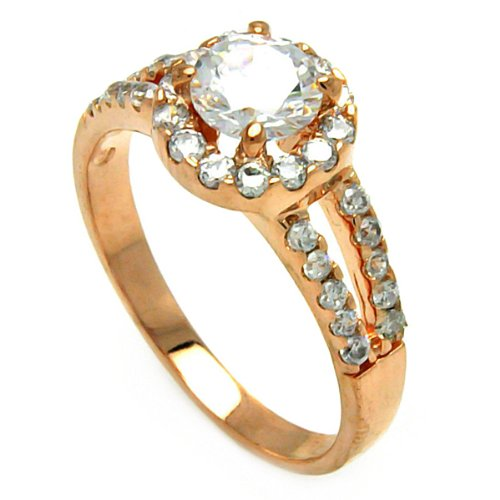 Rose Gold Plated Sterling Silver High Polish Round Cut Cubic Zirconia Center Halo Split Shank Design Promise Ring Band (Sizes 5 to 9) - Size 5