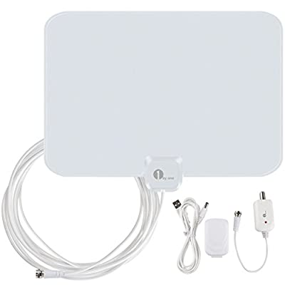 1byone OUS00-0562 Amplified HDTV Antenna 50 Miles Range with USB Power Supply and 20 Feet Coaxial Cable - White/Black