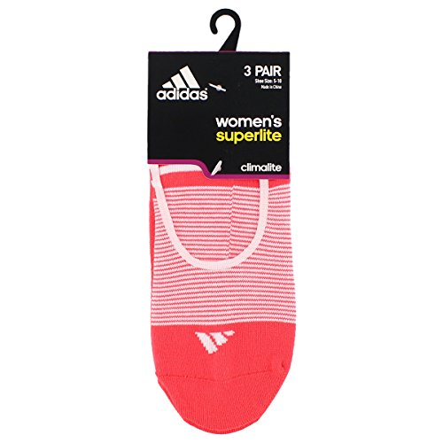 Adidas Women's Superlite Super No Show Socks (3 Pack), White/Sun Glow/Shock Red, One Size