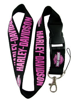 Harley Davidson Pink Lettering ~ Neck Lanyard Keychain Holder