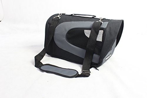 Fabulous Pet Dog Cat Soft Sided Travel Carrier Tote Bag - Black / Gray