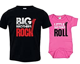 Big Brothers Rock Outfit, Little Sisters Roll Onesie, Includes Size 4 and 3-6 mo