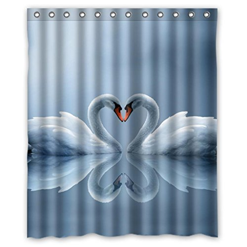White Swans Couple <br>Shower Curtain <br>60 x 72 Inches