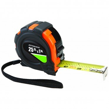 """25 Ft. X 1"""" Tape Measure Nonslip Rubber Shell Graduated In 1/16"""", 1/8"""", 1"""" And 1 Foot Stud Findings"""
