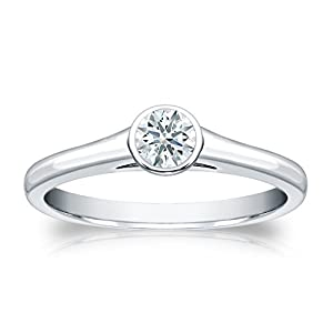 Jewel Oak 1/4 ct. tw. Hearts & Arrows Diamond Bezel Set Solitaire Ring in 14k White Gold (F-G, SI1), Size 4