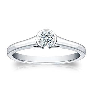 Jewel Oak 1/4 ct. tw. Hearts & Arrows Diamond Bezel Set Solitaire Ring in 18k White Gold (F-G, VS2), Size 4
