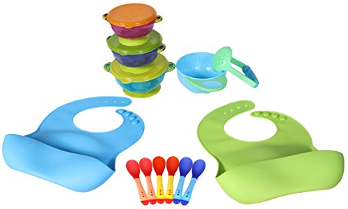 Best Value Complete Baby Feeding Set That Includes Everything You Need: 2 Baby Food Catcher Bibs + 3 Different Size Suction Bowls + Food Masher + Food Masher Bowl + 6 Baby Spoons