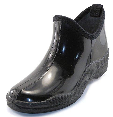 Shoes8teen Womens Short Rain Boots Prints & Solids (9, 1118 Black) (Garden Rain Boots compare prices)