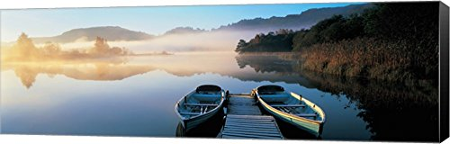 Rowboats at the lakeside, English Lake District, Grasmere, Cumbria, England by Panoramic Images Canvas Art Wall Picture, Museum Wrapped with Mars Black Sides, 37 x 12 inches