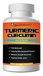 Turmeric Curcumin 800 MG Blend With Bioperine® - 800mg Per Capsule by Doctor Curcumin, 180 Caps, With Black Pepper For Maximum Absorption, 95% Curcuminoid Standardized Extract with C3 Complex