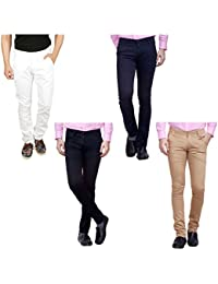 Nimegh White, Black, Navy Blue And Beige Color Cotton Casual Slim Fit Trouser For Men's (Pack Of 4)