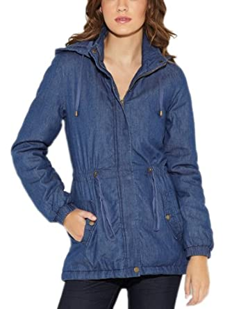 G by GUESS Women's Avelina Anorak, DARK WASH (LARGE)