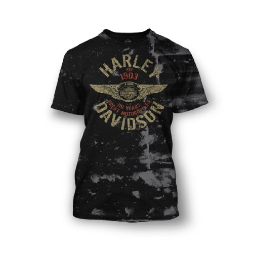 Harley-Davidson® Men's 110th Anniversary Bullseye T-Shirt. Graphics. Distressed Look. All Cotton. 302917550
