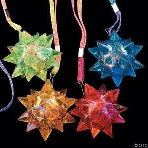 Light-Up Flashing Star LED Ball Pendant Necklace