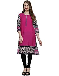 Ritzzy Women's Designer Kurta With Pink Printed Summer Crepe Fabric In Regular Fitting