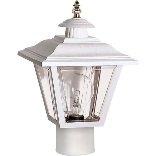 Nuvo SF77/899 Coach Post Lantern with Acrylic Panels, White Acrylic Outdoor Post Mounted Lantern
