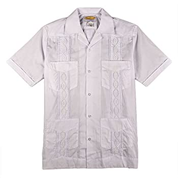White with White Guayabera Poly-Cotton