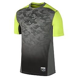 Nike Men\'s Dri-Fit Pro Combat Hypercool Baseball Shirt-Tumbled Grey/Volt-Small