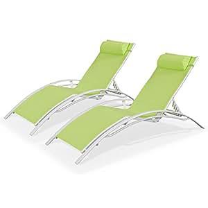 Alice's Garden - Duo 2 bains de soleil aluminium - Louisa Vert pomme - Transats aluminium et textilène Blanc et Vert pomme