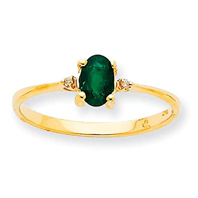 10k Gold Genuine Rough Diamond Emerald Birthstone Ring - Size L 1/2 - Higher Gold Grade Than 9ct Gol