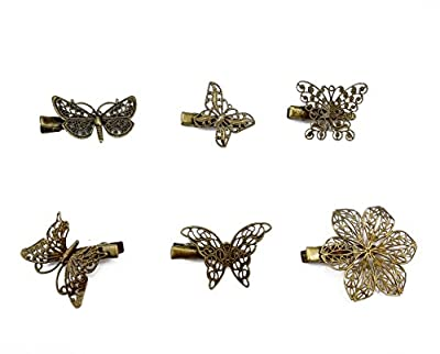 yueton Pack of 6 Vintage Hairpin Butterfly Dragonfly Flower Shape Hair Clip Headwear Lady Hair Accessories