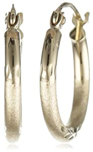 10k Yellow Gold 2mm Diamond-Cut Hoop Earrings from IMD Trading Company, Inc.