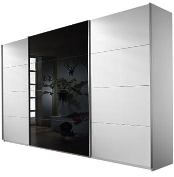 Rauch V2012010 Schwebeturenschrank Quadra / 3-turig / 1 Glasture / B 316 H 210 T 62 cm / Korpus/Front: alpinweiß, Absetzungen,  glas schwarz
