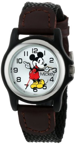 Disney Women's MCK620 Mickey Mouse Moving Hands Black and Brown Strap Watch