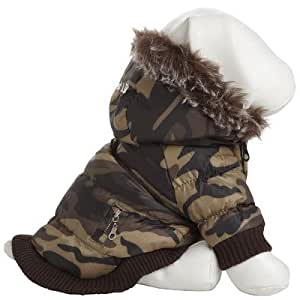 Metallic Dog Parka with Removable Hood Size: Small, Color: Camo Pattern