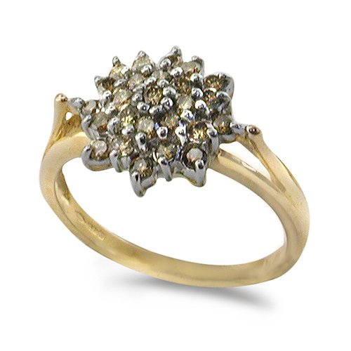 9ct Yellow Gold Ladies Flower Shape Cluster Ring Set with 0.5ct of Champagne ...