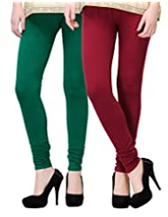2Day Women's Cotton Churidaar Legging Maroon/ Bottle Green (Pack Of 2)