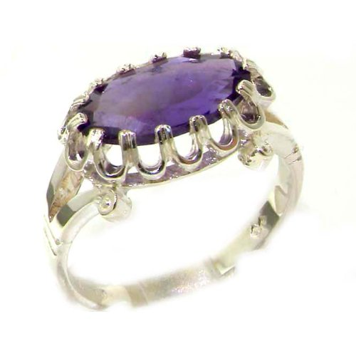 Quality Solid Sterling Silver Genuine 2.5ct Amethyst English Victorian Inspired Ring - Size 12 - Finger Sizes 5 to 12 Available - Suitable as an Anniversary ring, Engagement ring, Eternity ring, or Promise ring