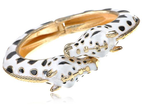 Golden Tone Metal Alloy White and Black Enamel Twin Giraffe Cuff Bangle Bracelet