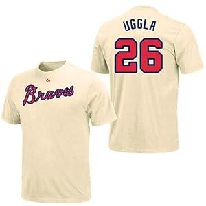 Dan Uggla Atlanta Braves Ivory Player T-Shirt by Majestic by Majestic