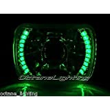 OCTANE LIGHTING 1-7X6 Green Led Halo Projector Halogen Crystal Headlight Angel Eye H4 Light Bulb