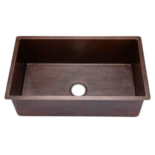 "Miseno MC3018SR 30"" Single Basin 14-Gauge Hammered Copper Kitchen Sink for Under, Hammered Copper"